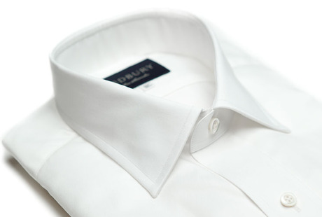 The White Fine Twill Worker Slim Fit collar