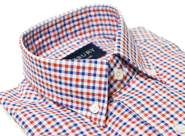 The Red and Blue Marshall Chambray Slim Fit collar