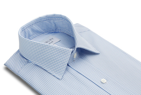 The Blue Gingham Worker Slim Fit collar