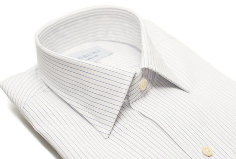The White Pinstripe 120 Slim Fit collar