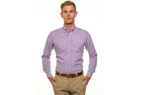 The Purple and Blue Marshall Chambray Slim Fit modelcrop