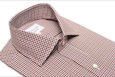The Red and Black Townsend Tattersall Slim Fit collar