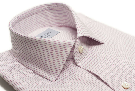 The Purple Henley Stripe Twill Slim Fit collar