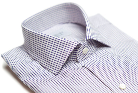 The Purple Box Check Spread Slim Fit collar