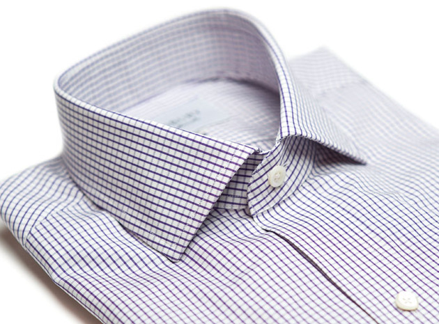 The Purple Box Check Spread  collar