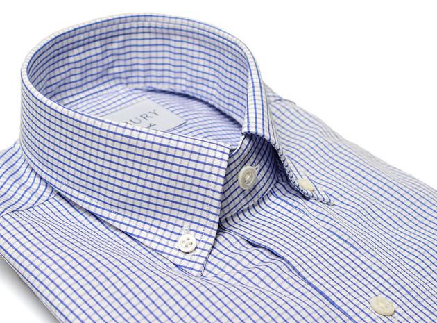 The Blue Box Check Button Down collar