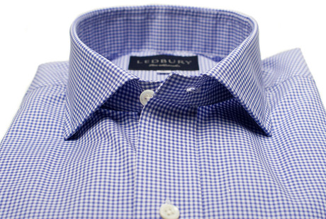 The Blue Cross Gingham Cutaway modelcrop
