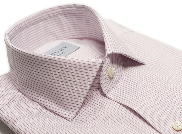 The Purple Henley Stripe Twill collar