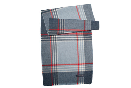 The Braden Block Check Merino Scarf modelcrop