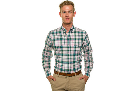 The Green Crawford Plaid Regular modelcrop