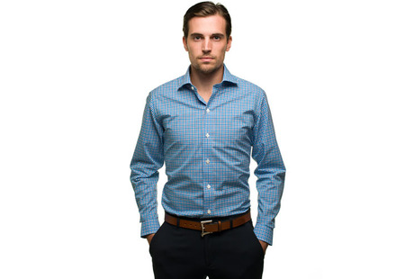 The Navy and Blue Thompson Tattersall Slim Fit modelcrop